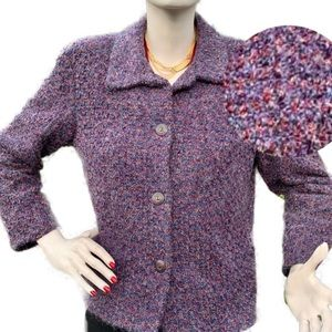 Vintage Purple Boucle Mohair Cropped Blazer